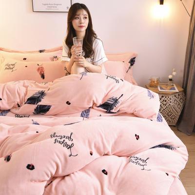 2019新款-牛奶绒四件套 床单款四件套1.5m(5英尺)床 夏沫之晨(粉)