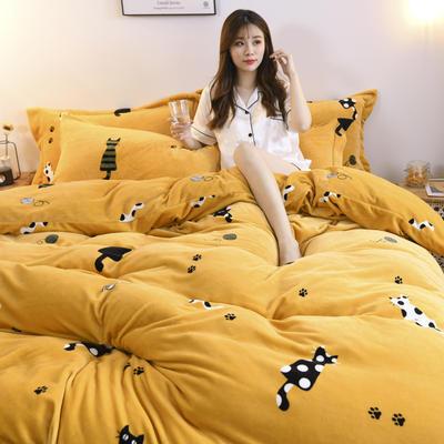 2019新款-牛奶绒四件套 床单款三件套1.2m(4英尺)床 小猫咪(黄)