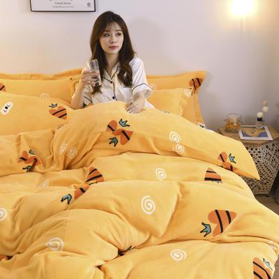 2019新款-牛奶绒四件套 床单款四件套1.5m(5英尺)床 小甜心(黄)