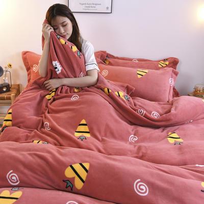 2019新款-牛奶绒四件套 床单款四件套1.5m(5英尺)床 小甜心(西瓜红)