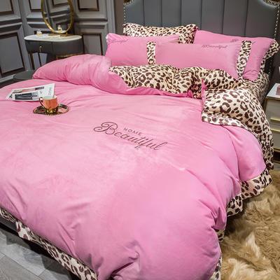 2019新款-豹纹款数码印花单床笠 180cmx200cm 豹纹-粉色