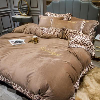 2019新款-豹纹款数码印花单床笠 150cmx200cm 豹纹-咖色