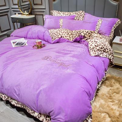 2019新款-豹纹款数码印花单床笠 150cmx200cm 豹纹-魅紫