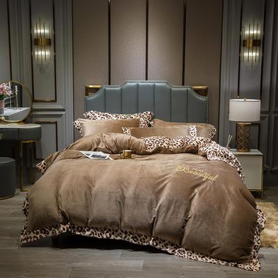 2019新款-豹纹款数码印花四件套 床单款1.5m床-1.8m床 豹纹-咖色