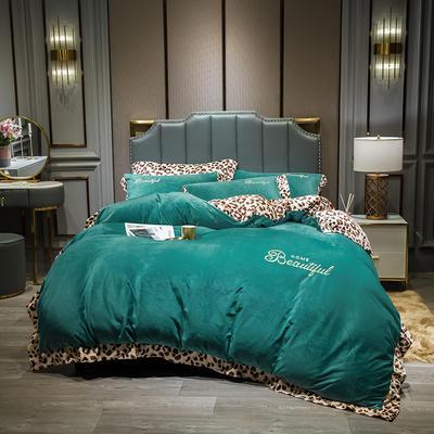 2019新款-豹纹款数码印花四件套 床单款2.0m床 豹纹-孔雀绿