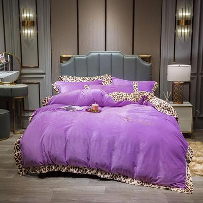 2019新款-豹纹款数码印花四件套 床单款1.5m床-1.8m床 豹纹-魅紫