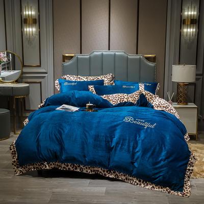 2019新款-豹纹款数码印花四件套 床单款2.0m床 豹纹-深蓝