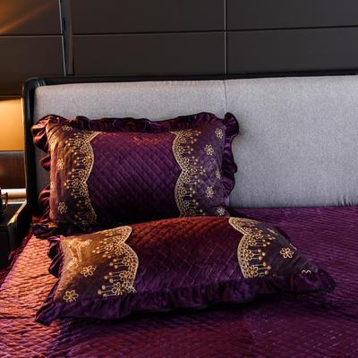 2019新款-水晶绒罗马假日单枕套 48cmX74cm/一对 罗马假日-紫色