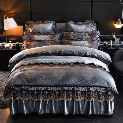 2019新款-水晶绒罗马假日四件套 床裙款四件套1.5m(5英尺)床 罗马假日-灰色