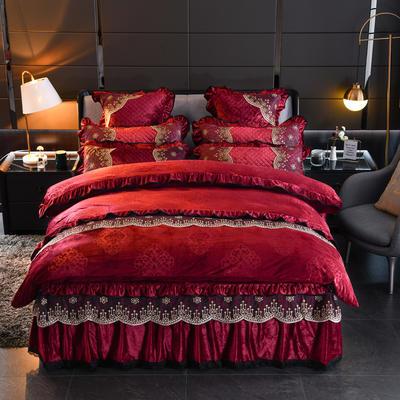 2019新款-水晶绒罗马假日四件套 床裙款四件套1.5m(5英尺)床 罗马假日-酒红
