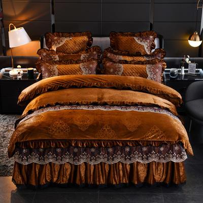 2019新款-水晶绒罗马假日四件套 床裙款四件套1.5m(5英尺)床 罗马假日-咖色