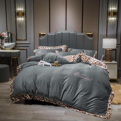 2019新款-豹纹款数码印花四件套 床单款1.5m床-1.8m床 豹纹-银灰
