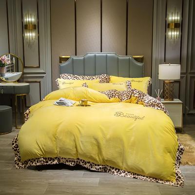 2019新款-豹纹款数码印花四件套 床单款1.5m床-1.8m床 豹纹-柠檬黄