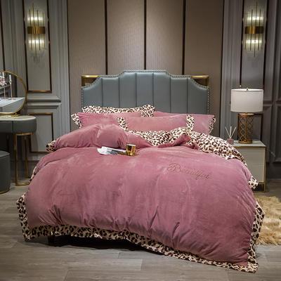 2019新款-豹纹款数码印花四件套 床单款1.5m床-1.8m床 豹纹-藕粉