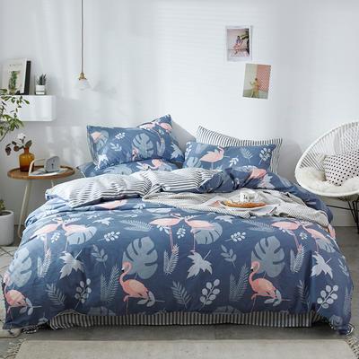 2020新款-13372纯棉四件套 床单款四件套1.5m(5英尺)床 2北欧烈鸟