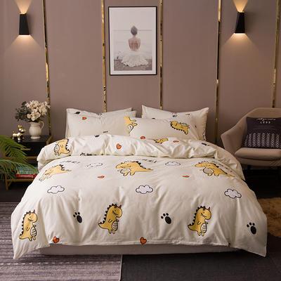 2020新款-13372纯棉四件套 床单款四件套1.5m(5英尺)床 3点赞小恐龙