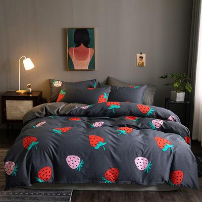 2020新款-13372纯棉四件套 床单款四件套1.5m(5英尺)床 6草莓奶昔111