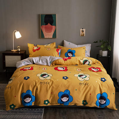 2020新款-13372纯棉四件套 床单款四件套1.5m(5英尺)床 14宝藏女孩
