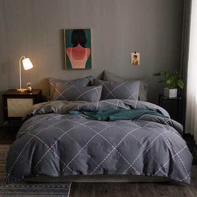 2020新款-13372纯棉四件套 床单款四件套1.5m(5英尺)床 21万格