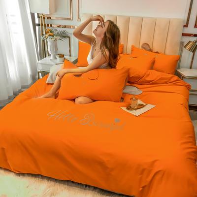 2020新款-60长绒棉四件套(公主梦圆) 床单款三件套1.2m(4英尺)床 公主梦圆橙+灰