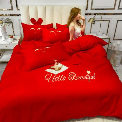 2020新款-60长绒棉四件套(公主梦圆) 床单款三件套1.2m(4英尺)床 公主梦圆大红