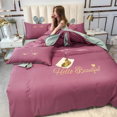 2020新款-60长绒棉四件套(公主梦圆) 床单款三件套1.2m(4英尺)床 公主梦圆豆沙+灰色