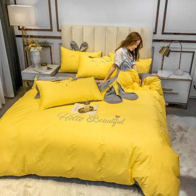 2020新款-60长绒棉四件套(公主梦圆) 床单款三件套1.2m(4英尺)床 公主梦圆黄+灰