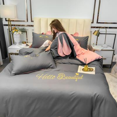 2020新款-60长绒棉四件套(公主梦圆) 床单款三件套1.2m(4英尺)床 公主梦圆灰+玉