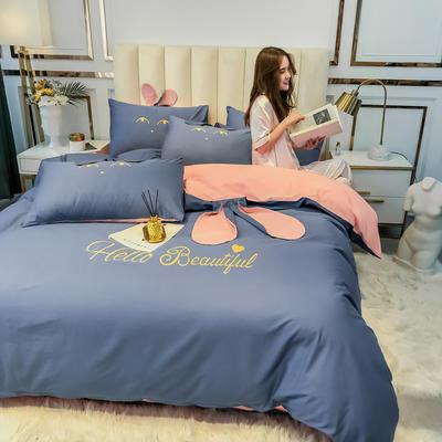 2020新款-60长绒棉四件套(公主梦圆) 床单款三件套1.2m(4英尺)床 公主梦圆灰蓝+玉