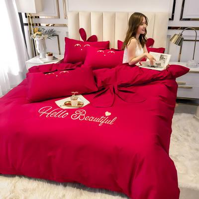 2020新款-60长绒棉四件套(公主梦圆) 床单款三件套1.2m(4英尺)床 公主梦圆酒红