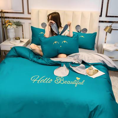 2020新款-60长绒棉四件套(公主梦圆) 床单款三件套1.2m(4英尺)床 公主梦圆孔雀绿+灰