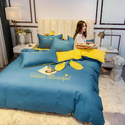 2020新款-60长绒棉四件套(公主梦圆) 床单款三件套1.2m(4英尺)床 公主梦圆蓝灰+黄