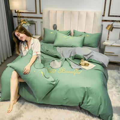 2020新款-60长绒棉四件套(公主梦圆) 床单款三件套1.2m(4英尺)床 公主梦圆绿+灰色