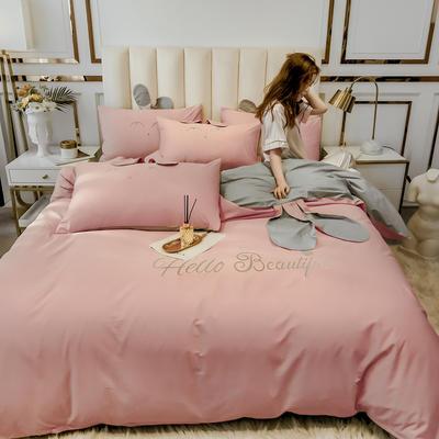 2020新款-60长绒棉四件套(公主梦圆) 床单款三件套1.2m(4英尺)床 公主梦圆--玉+灰