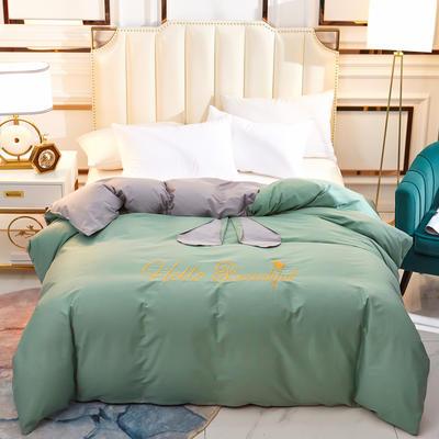 2020新款-60长绒棉公主梦圆单被套 155x205cm 公主梦圆绿+灰色