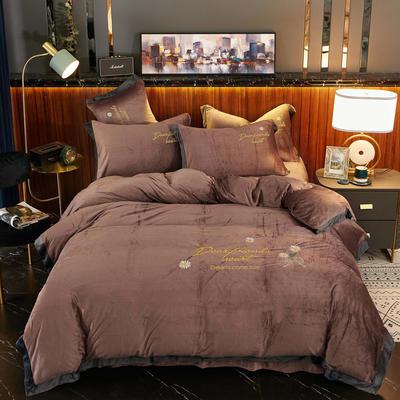 2020新款 -水晶绒刺绣四件套雏菊 1.5m床单款四件套 咖啡