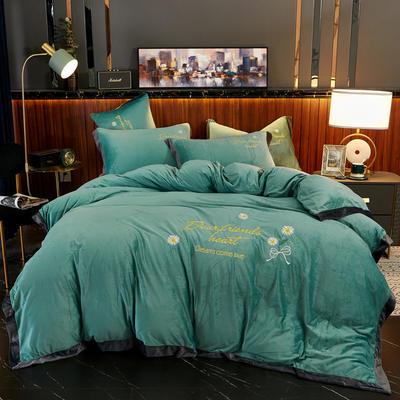 2020新款 -水晶绒刺绣四件套雏菊 1.5m床单款四件套 孔雀绿