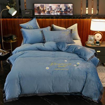 2020新款 -水晶绒刺绣四件套雏菊 1.5m床单款四件套 蓝色