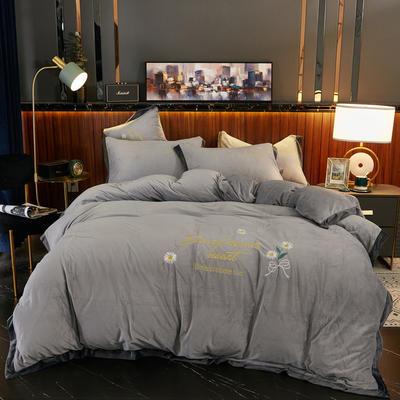 2020新款 -水晶绒刺绣四件套雏菊 1.5m床单款四件套 银灰色