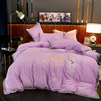 2020新款 -水晶绒刺绣四件套雏菊 1.5m床单款四件套 紫色