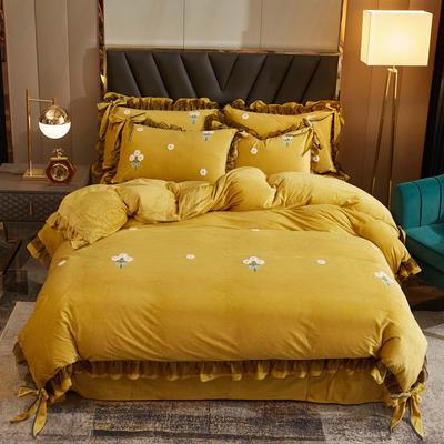 2020新款-水晶绒毛巾绣少女梦四件套 1.5m床单款四件套 黄色