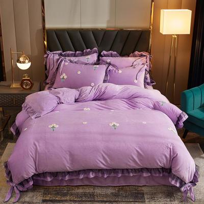 2020新款-水晶绒毛巾绣少女梦四件套 1.5m床单款四件套 紫色