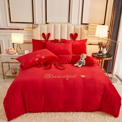 2020新款-可爱兔水晶绒四件套 1.5m床单款四件套 4可爱兔-大红