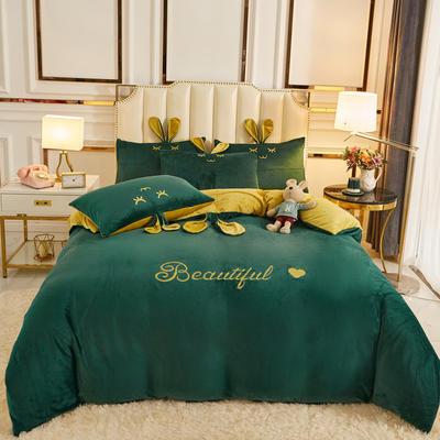 2020新款-可爱兔水晶绒四件套 1.5m床单款四件套 5可爱兔-墨绿+黄