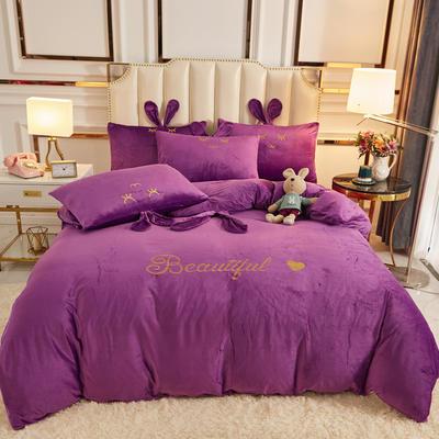 2020新款-可爱兔水晶绒四件套 1.5m床单款四件套 6可爱兔-神秘紫