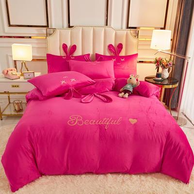 2020新款-可爱兔水晶绒四件套 1.5m床单款四件套 7可爱兔-玫红