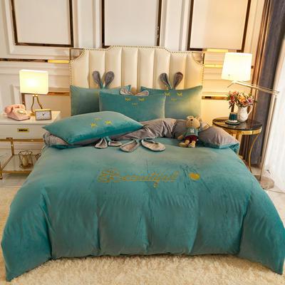 2020新款-可爱兔水晶绒四件套 1.5m床单款四件套 10可爱兔-孔雀绿+灰
