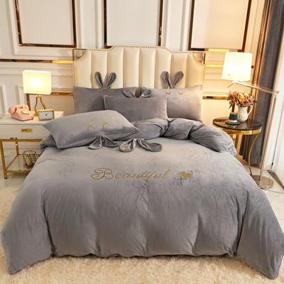 2020新款-可爱兔水晶绒四件套 1.5m床单款四件套 11可爱兔-灰色