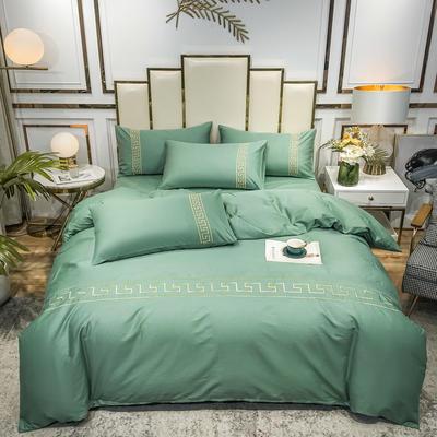 2020新款-全棉刺绣永恒之恋四件套 1.5m床单款四件套 永恒之恋-薄荷绿