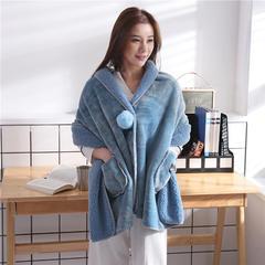 2018新款法莱绒+羊羔绒时尚披肩毯 65*170cm 孔雀蓝